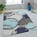 Alfombra De Salón Pelo Corto Círculos Batik En Azul Gris Turquesa Efecto Retro, tamaño:120x170 cm
