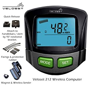 Veloset VS-212 12 Function Wireless Cycle Computer with backlight display
