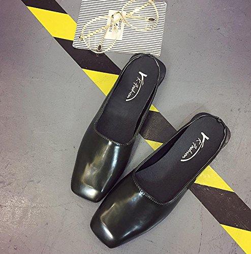 LvYuan Pantofole estive delle donne / comodo di modo casuale / testa quadrata / tallone piano / sandali / pattini meticolosi pantofole pigri Green