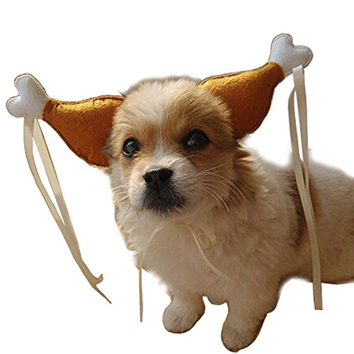 InnoWill Hundekostüm Drumstick Perücke Hunde Knochen Kostüm Hut Halloween Haustier Cosplay Fancy Dress Up (S Für kleinen und mittleren Hund) (Hund Golden Retriever Halloween Kostüme)