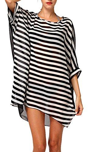 DQdq da donna Chiffon a righe spiaggia Cover Up Taglia unica Black Striped Taglia unica