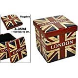 DonRegaloWeb - Puff plegable cuadrado de polipiel decorado con la bandera de uk y logo London en color rojo, blanco y azul