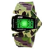 Jungen Kinderuhren 7 LED Licht Uhr Sport Militär Wasserfest Armbanduhr,Alarm Chrono Stoppuhr,Grün Tarnung