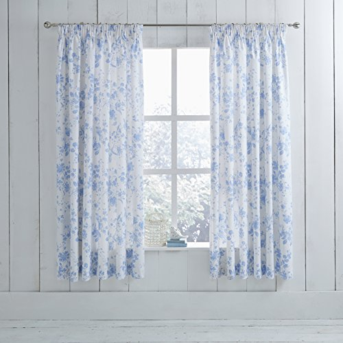 bluewhite p curtains star poly white cotton polycotton blackout clearance blue curtain and