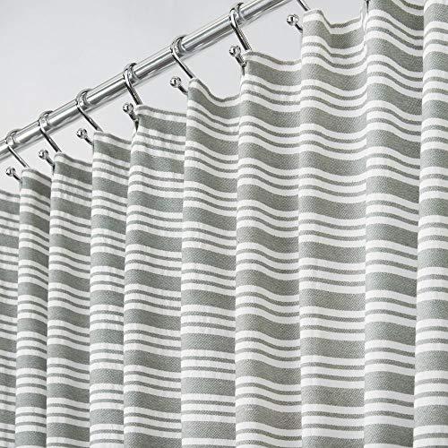 estreift einfach Care Stoff Duschvorhang mit verstärkte Knopflöcher, für Badezimmer Duschen, Stalls und Badewannen, maschinenwaschbar-182,9x 182,9cm grau und weiß gestreift ()