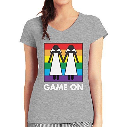 Game On! Ehe für Alle Gleichstellung lesbische Ehe Damen T-Shirt V-Ausschnitt Grau