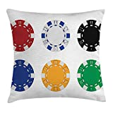 Kissenbezüge Poker Tournament Decorations Throw Pillow Cushion Cover by, Collection of Colored Casino Chips Realistic Tokens Set Image, Decorative Square Accent Pillow Case, 18 X 18 Inches, Multicolor