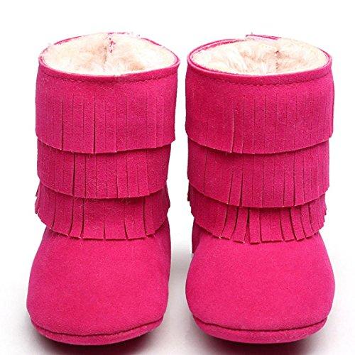 Sohle Stiefel Hunpta Pink Baby 12 Warm Schuhe Kleinkind Krippe Weiche Lauflernschuhe Schneestiefel Jungen Pink Mädchen Hot Doppelstock quasten Babyschuhe Halten rZHnrPAq