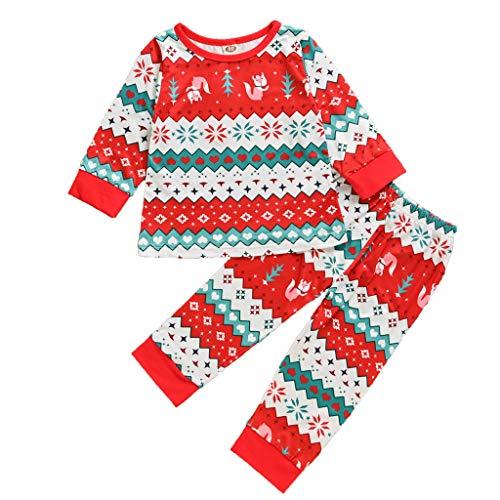 Deloito Kinderkleidung Weihnachten Kleinkind Baby Zuhause Pyjama Mädchen Jungen Karikatur Drucken Bluse Tops + Welle Geraffte Hose Zweiteiliger Anzug (Rot,100/2-3 T)