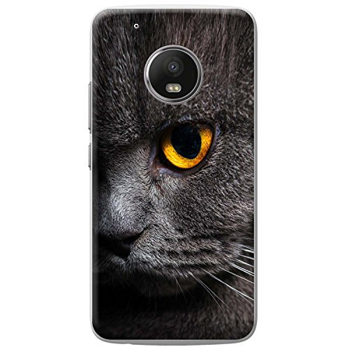 Nahaufnahme von grauen Katzen gelbes Auge Hartschalenhülle Telefonhülle zum Aufstecken für Motorola Moto G5 Play