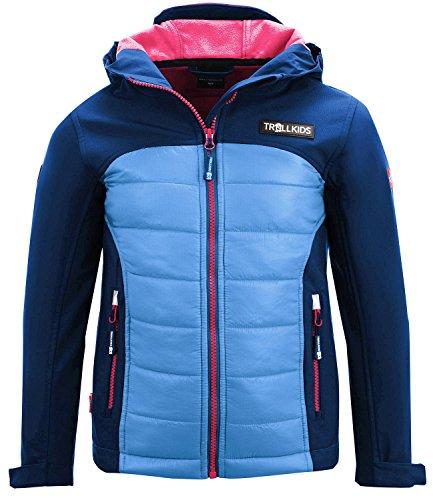 Trollkids Kinder Hybrid Softshell Jacke Lysefjord, Marineblau / Magenta, Größe 164 (Kinder Jacke Magenta)