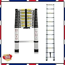 Multiusos escalera de aluminio plegable retráctil telescópica de extensión DIY 3,8m de altura, 13pasos
