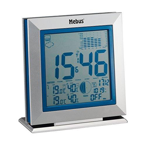 Mebus Funkwetterstation mit Wetterprognose, kabellos, 88211, silber