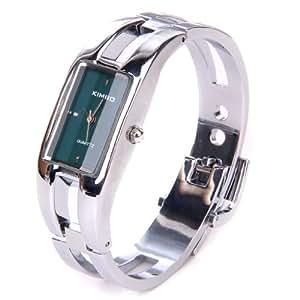 Silver Quartz Women Bangle Bracelet Wrist Watch / A Stunning Open Bangle Style Wrist Watch For Ladies