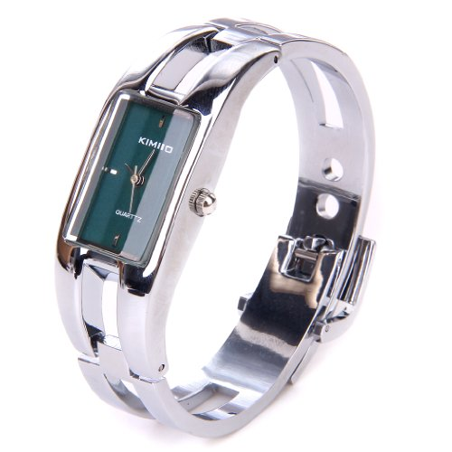 Silver Quartz Women Bangle Bracelet Wrist Watch / A Stunning Open Bangle Style Wrist Watch For Ladies