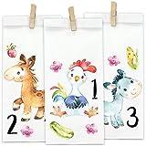 Papierdrachen Bauernhof Adventskalender - Tiere zum Aufkleben - mit 24 weißen Papiertüten zum selbst Befüllen und zum Selbermachen - Weihnachten 2018