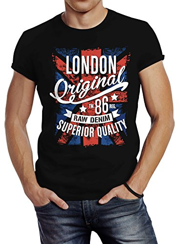 Neverless Herren T-Shirt London Vintage England Großbritannien UK Flagge Slim Fit Schwarz XL