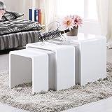 Uenjoy Lot de 3 tables gigognes table basses en bois blanc brillant chambre salon