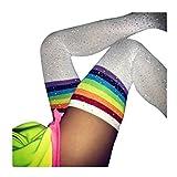 FORH Damen Lange Overknee Strümpfe Fashion Klassisch Streifen Socken Warme Baumwolle Elastisch Stricken Kniestrümpfe Strick Lange Sportsocken College Knie Socken Mädchen (F)