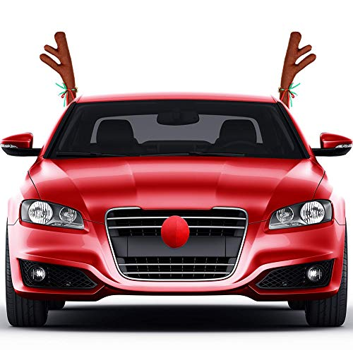 Rentier Auto Kostüm - EisEyen Weihnachten Decoration KFZ Zubehör Plüsch Rudolf der Rentier Geweihe und Rote Nase für Kühlergrill und Seitenscheiben