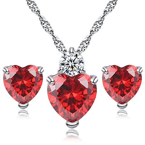 Hosaire en Sistemas de la Joyería, Collar Pendientes Diamante Estilo Corazón Elegante Joyería Mujer Cristal Juego De Cristal Colgante Collar + Pendientes