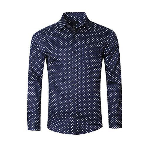 Soopo camicia a maniche lunghe da uomo con stampa a pois camicia regolare e regolare, blu scuro, xl