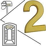 magicdo® Small Golden moderno Número de Casa, número de apariencia moderna buzón números Pegatina, 3d metal Shining reflectante Número, Self Stick Número, flotante, número de casa número de vinilo de señales, 2, 2