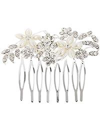 Joyería de Diamantes de Imitación Perlas Peine de Pelo Flores Nupcial Boda Mujeres