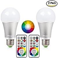 Blinngo LED Bombilla RGBW con Control Remoto de E27-10W de multi-color de Función de Temporización luz Iluminación Luminosa Pack-2 Decoración para Casa/Bar/Fiesta/KTV Ambiente