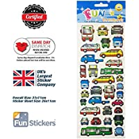 Cars and Buses Sticker Sheet (910)