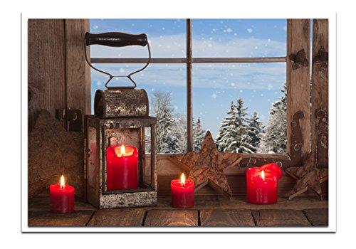 Offerta set: 10cartoline di natale rosso bianco blu classico lanterna con quattro candele rosse 14,8x 10,5cm geklappt con busta senza testo biglietti natalizi per clienti biglietti in foto.
