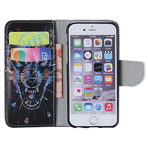 ARTLU® iPhone 6/6S Hülle im Bookstyle PU Leder Flip Wallet Case Schutzhülle für Apple iPhone 6/6S (4.7 Zoll) Tasche Handytasche mit Magnetverschluss Kartenfach Standfunktion Muster Handyhülle- K14 M17