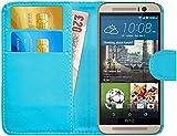 G-Shield Hülle für HTC M9 Klapphülle mit Kartenfach und Magnetverschluß Kunstleder mit Displayschutzfolie und Stylus - Hellblau