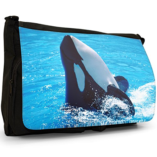 Fancy A Bag Borsa Messenger nero Killer Whale Splashing Killer Whale Splashing