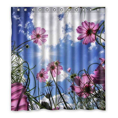 """167 centimetri x183 cm (66 """"x72"""") Curtain Bagno Doccia, meravigliosi fiori selvatici sotto il sole, Moda Personalizzato Verde tenda di acquazzone impermeabile"""
