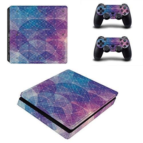 FOTTCZ Ganzkörper-Skin Aufkleber für PS4 Slim Konsole und 2 Controller Blau und Violett Geometrisches Gitter und kreisförmiges Muster