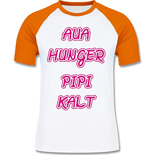 Shirtracer Statement Shirts - Aua, Hunger, Pipi, Kalt - Herren Baseball Shirt Weiß/Orange