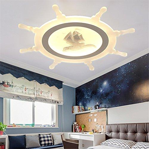 BRIGHTLLT Das Mittelmeer slim Wohnzimmer LED Deckenleuchte kreative Karte Navigation von Schiffen Eye Care Kinder Lampe Schlafzimmer Lampe, Studie 500 mm