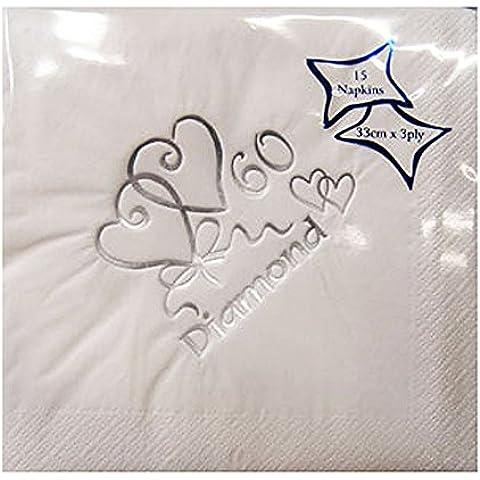 Tovaglioli di carta per 60esimo anniversario nozze di diamante, confezione da 15, colore: bianco