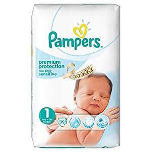 Pampers New Baby Sensitive Nappies, Size 1 (Newborn) - Value Pack (39 Nappies)