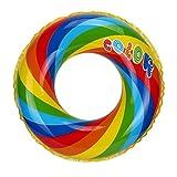 HARRYSTORE Aufblasbare Schwimmen Ring Pool Strand Süße Regenbogen Muster Floating Raft (Außendurchmesser: 80cm)