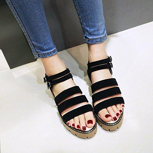 Mee Shoes Damen chunky heels open toe Slingback Sandalen Schwarz
