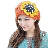 TININNA Invierno Cálido Diseño de flores de punto diadema de punto diadema orejeras orejeras calentador de bufandas cuello de punto para mujeres niñas