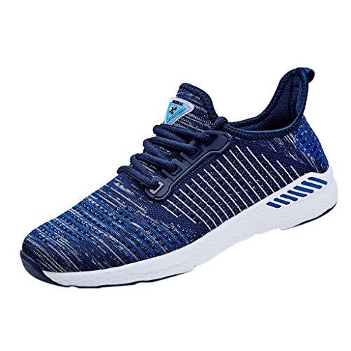 POIUDE Herren Laufschuhe Atmungsaktiv Sportschuhe Turnschuhe Trainers Running Fitness Sneakers(Blau, 43)
