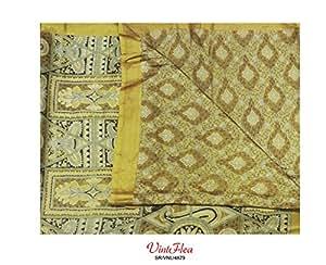 sari cru 100% artisanal en pure soie kaki tissu sari vert abstraite imprimée drapé rideau indien utilisés femmes envelopper robe de couture décoration 5YD recyclé robe paréo en tissu