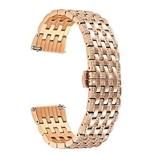 TRUMiRR Galaxy Watch 42mm Cinturino, 20mm Crystal Rhinestone Striscia di Cinturino in Acciaio Inossidabile a Rilascio rapido per...