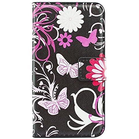 Cozy Hut Custodia LG K7, LG K7 Cover, LG K7 Flip Cover, Disegno di Stampa Disegno della Farfalla di stile del Libro Portafoglio Custodia in PU Cuoio, Elegant Flip Protettivo Wallet Caso Copertina con Funzione di Supporto per LG K7 - farfalla