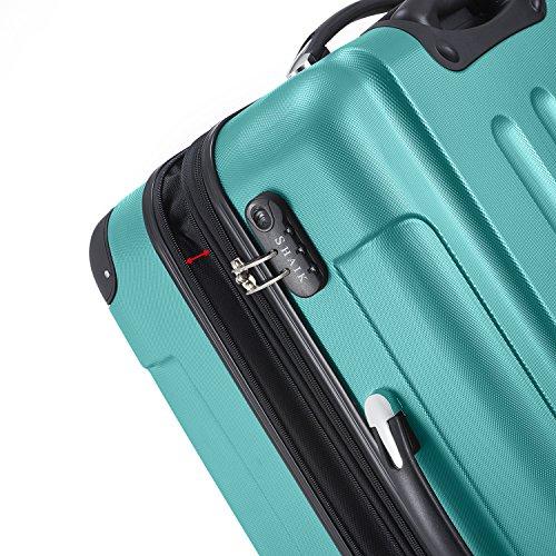 SHAIK® Serie BUTTERFLY, FRA 3 Größen, M | L | XL | Set | 45/78/124 Liter Zahlenschloss (Türkis, XL | Großer Koffer) - 2