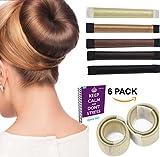 FabQuality 6 Pack Damen Fashion Hair Styling Donut Hair Bun Maker beige Perfekt für lange und dicke Haare