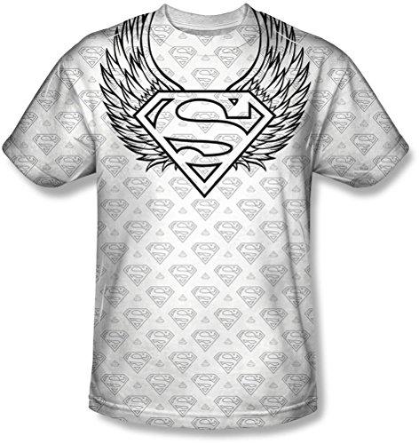 Superman - - Männer Winged Schild Wiederholen T-Shirt White